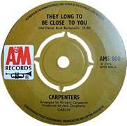 45 RPM Record Carpenters Close To You