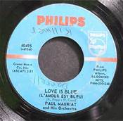 45 RPM Paul Mauriat Love Is Blue #2 Single of Decade