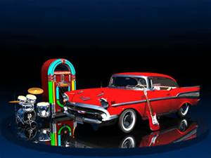 Fabulous Fifties Pictured Red Chevy, Jukebox, Drums and Guitar